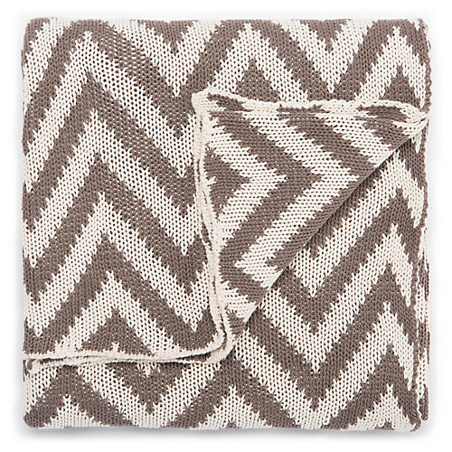 Torru Cotton Throw, Brown/White