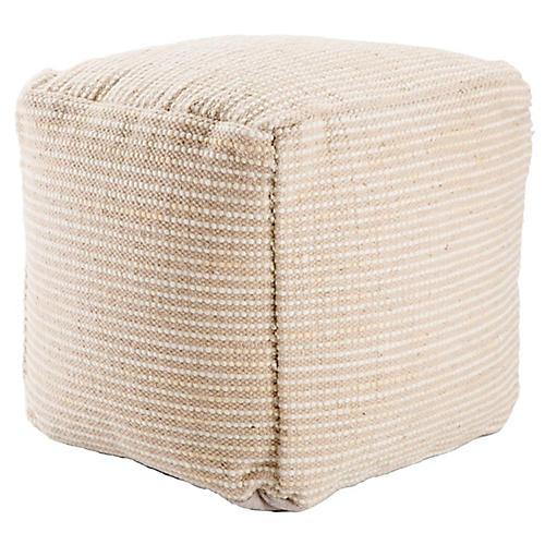Almi Pouf, Beige/White Stripe