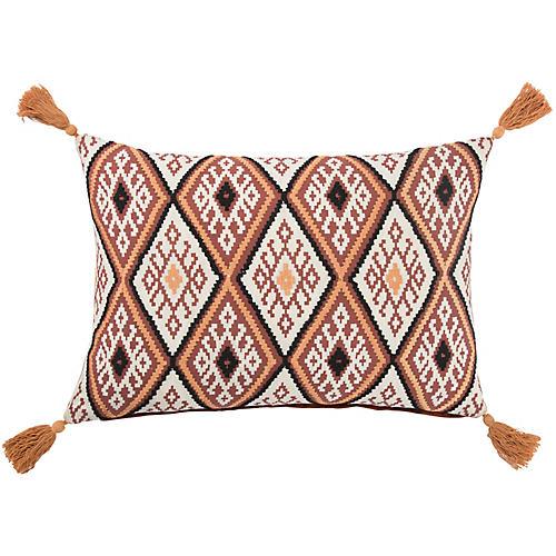 Mau 14x20 Lumbar Pillow, Orange/Black