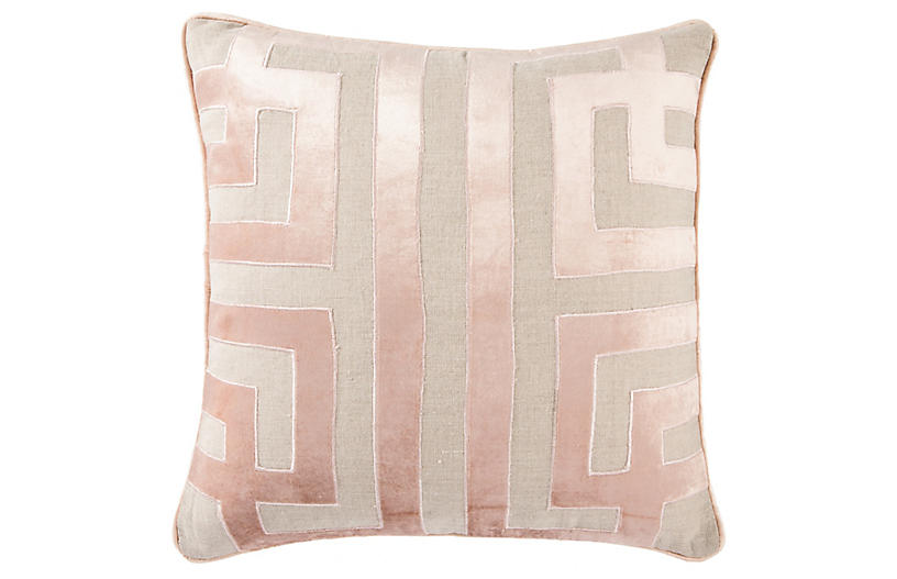 Della 22x22 Pillow, Beige/Pink Linen