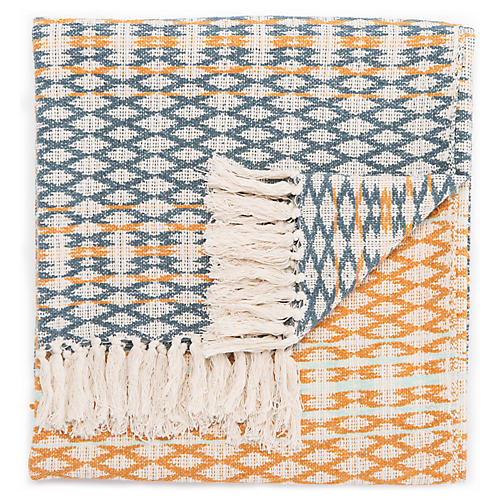 Lissa Cotton Throw, Teal/Orange