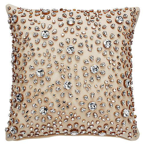 Floral Burst 18x18 Pillow, Beige/Silver