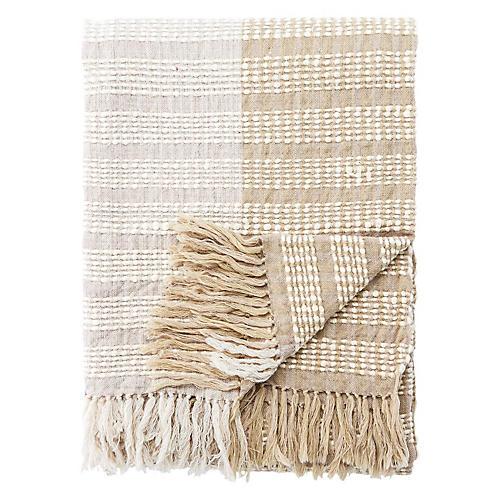 Ritma Wool Throw, Gray/Beige