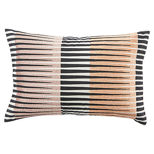 Cha 16x24 Lumbar Pillow, Black/Pink