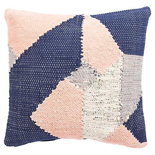 Nis 22x22 Pillow, Blue/Pink