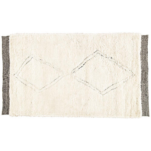 Kinney Hand-Knotted Rug, Ivory/Black