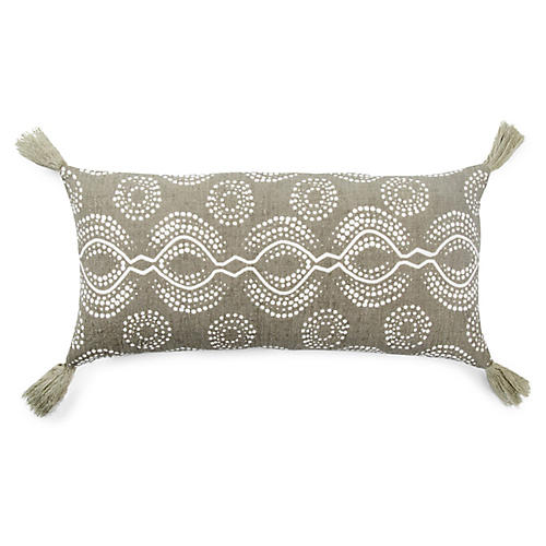 Sani 10x21 Lumbar Pillow, Taupe/White Linen