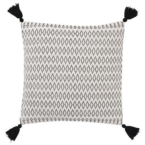 Payten 18x18 Tassel Pillow, White/Black