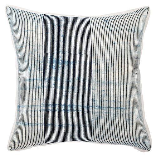 Alicia 22x22 Pillow, White/Indigo Stripe