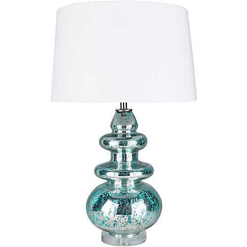 Gordon Mercury Table Lamp, Turquoise/Clear