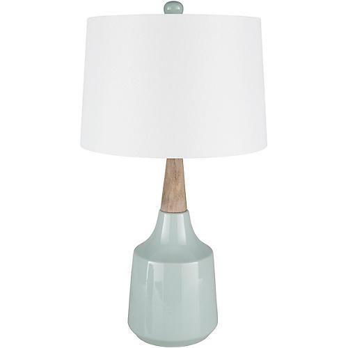 Staron Table Lamp, Glazed Blue/Natural