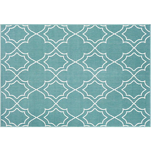 Sita Outdoor Rug, Teal/White