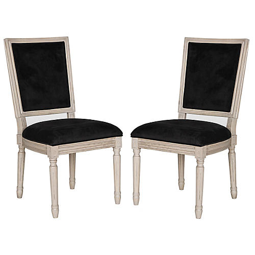S/2 Lucy Side Chairs, Black Velvet