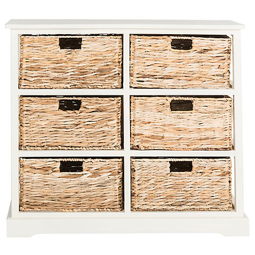Kera 6-Basket Storage Unit, Off-White