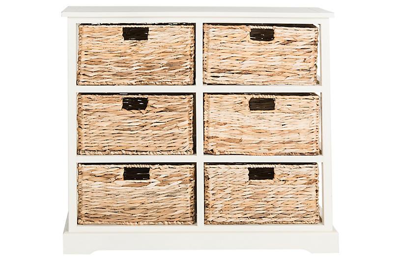 Kera 6-Basket Storage Unit, Off-White
