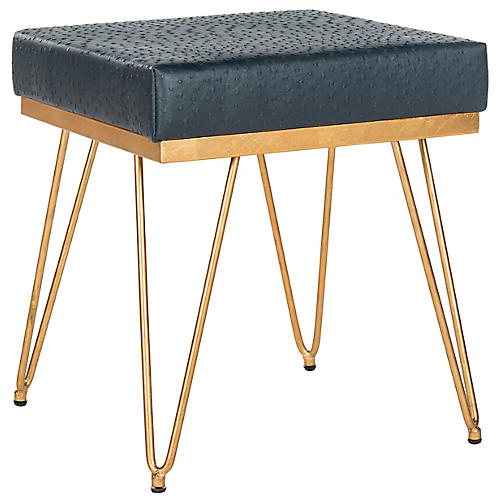 Oslo Square Stool, Navy/Gold