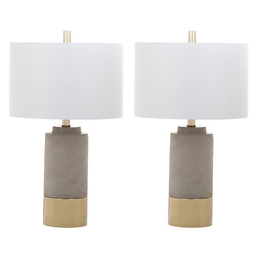 S/2 Welbon Table Lamps, Gray/Gold