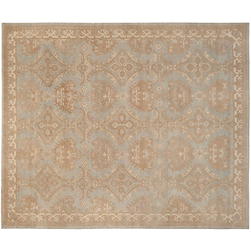 Moreau Hand-Knotted Rug, Light Blue/Beige