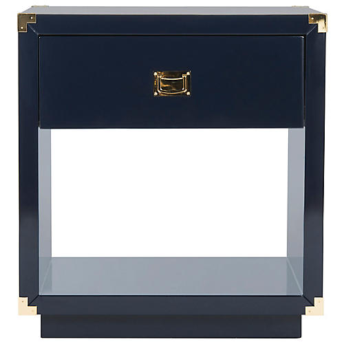Lella Lacquer Nightstand, Navy