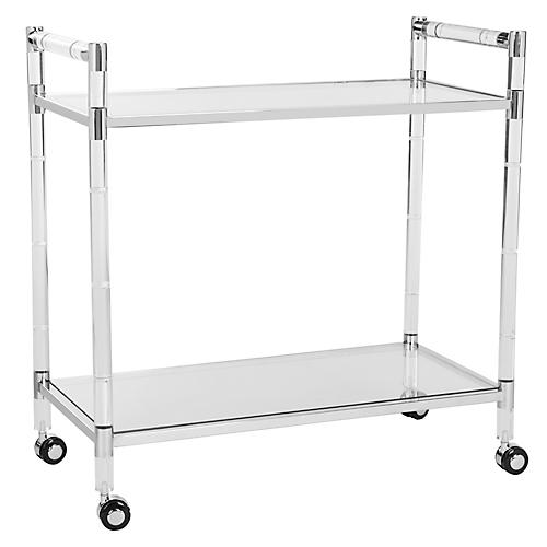 Duval Bar Cart, Polished Silver