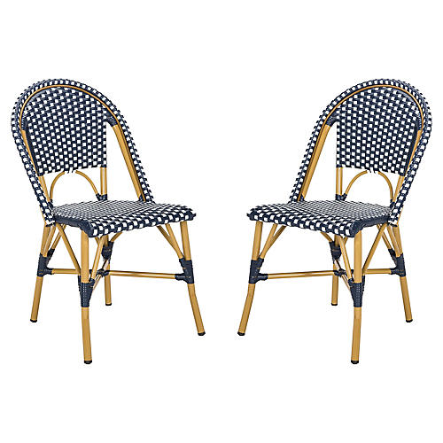 S/2 Odeon Stackable Side Chairs, Navy/White