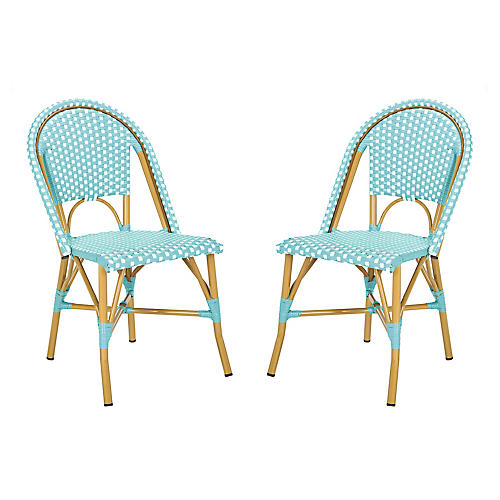 S/2 Odeon Stackable Side Chairs, Teal/White