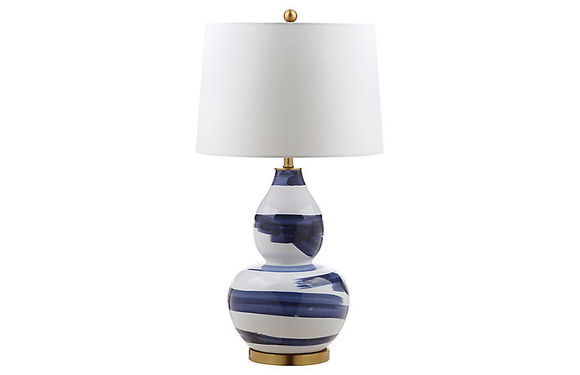 Riley Table Lamp, Blue/White