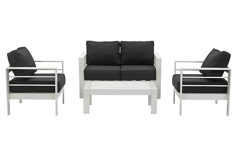 Nason 4-Pc Lounge Set, Black