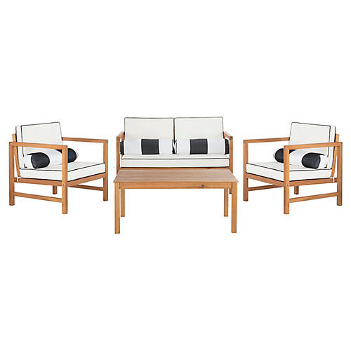 Genette 4-Pc Lounge Set, White/Black