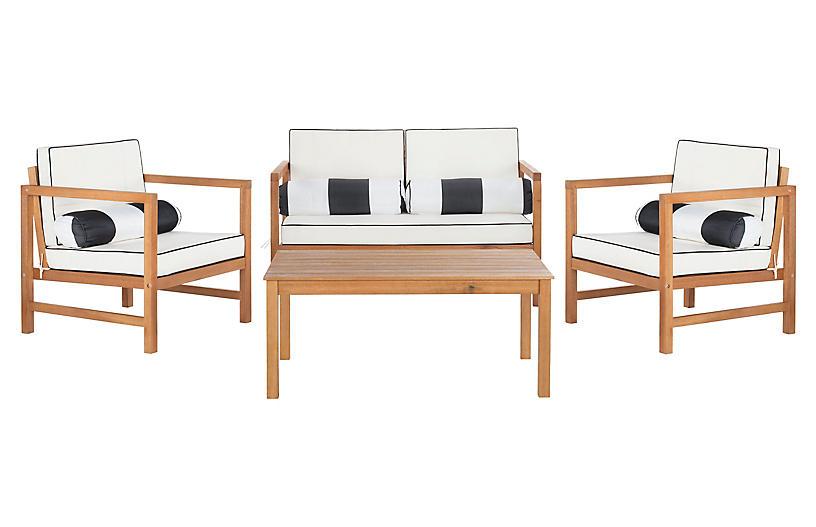 Genette 4-Pc Lounge Set, White/Black