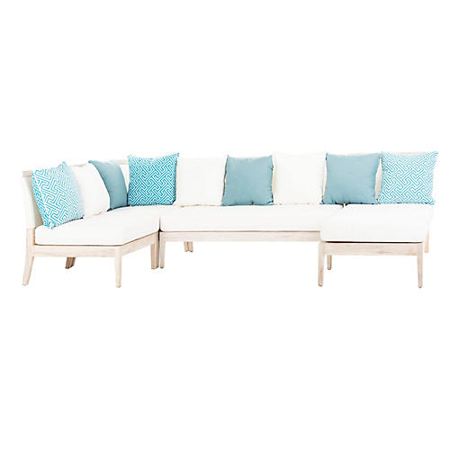 Avila Sectional, Whitewash/Cream