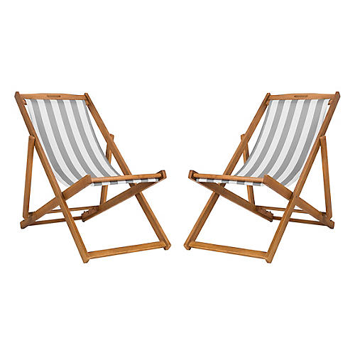 S/2 Tisch Sling Chairs, Gray/White
