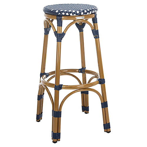 Odeon Stool, Navy/White/Light Brown