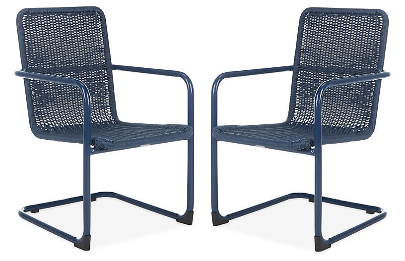 S/2 Outdoor Hutton Chairs, Navy