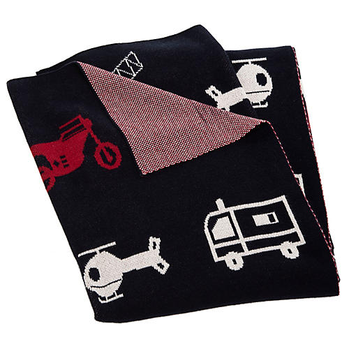 Transportation Baby Blanket, Navy/Red