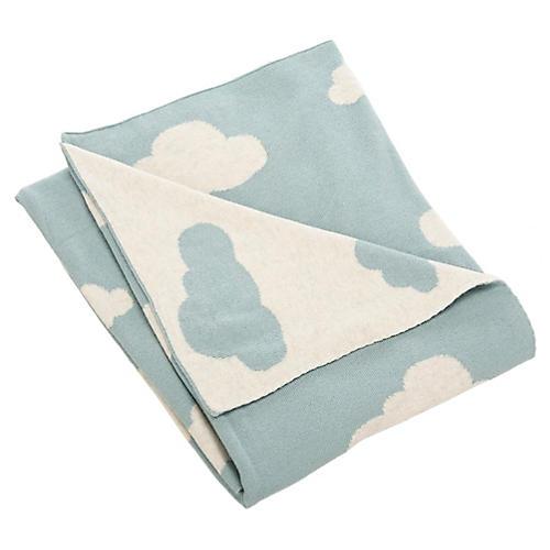 Cloud Baby Blanket, Blue/White