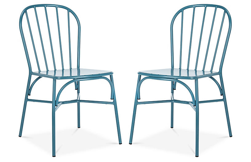 S/2 Everleigh Outdoor Side Chairs, Cerulean
