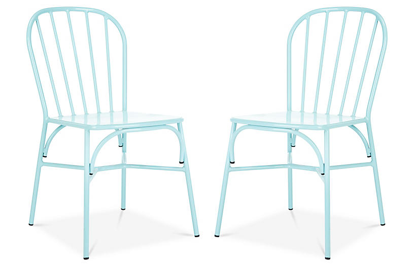 S/2 Everleigh Outdoor Side Chairs, Baby Blue