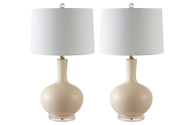S/2 Lily Table Lamps, Cream