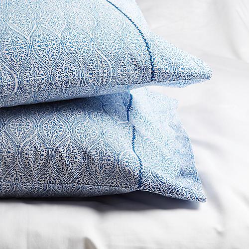 S/2 Boa Lace Standard Pillowcases, Cobalt