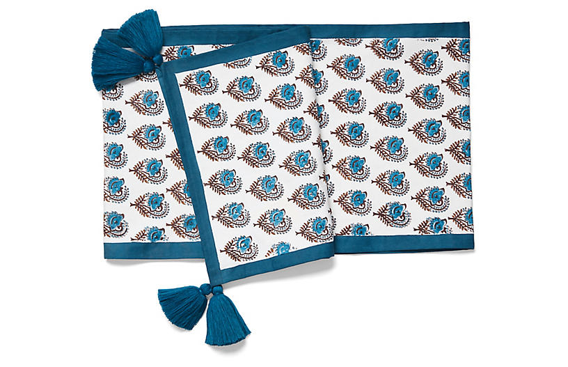 Ketaki Allover Table Runner w/Tassels, Sky