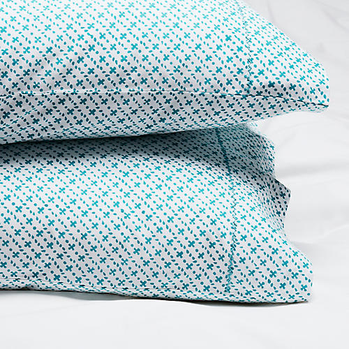 S/2 Poincon Pillowcases, Teal