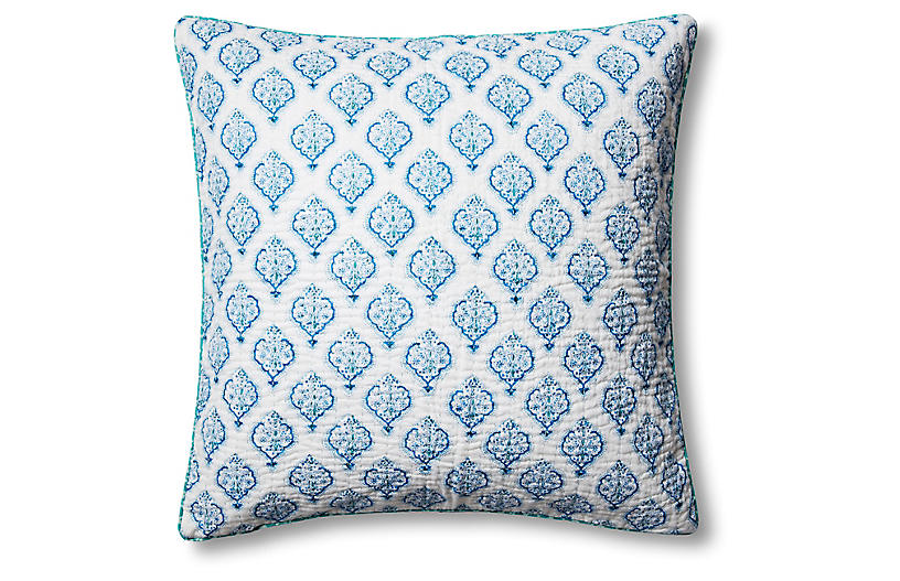 Estampe 22x22 Quilted Pillow, Blue