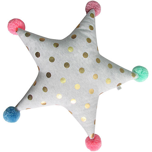 Pom-Pom Star Plush Toy, Gray/Gold/Multi