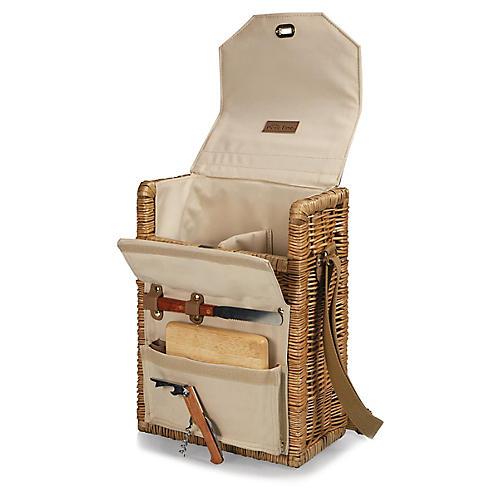 Corsica Wine Basket Set, Khaki/Multi