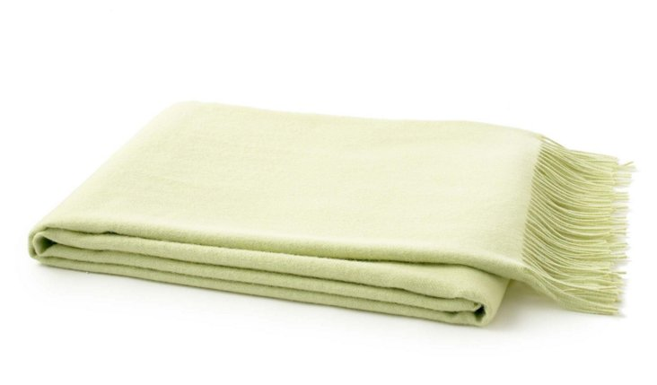Solid Alpaca Throw, Lime