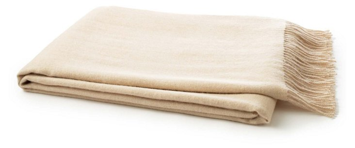 Solid Alpaca Throw, Beige