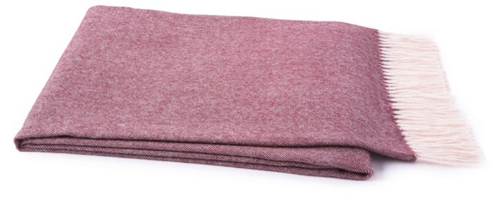 Herringbone Alpaca Throw, Plum Wine