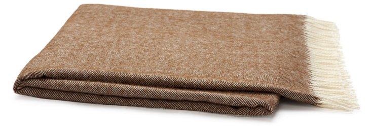 Herringbone Alpaca Travel Blanket, Brown