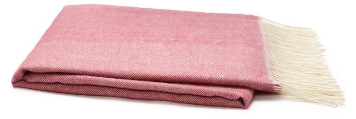 Herringbone Alpaca Travel Blanket, Pink